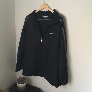 Black and gray Nike windbreaker jacket